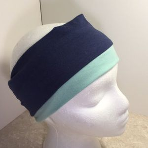 Reversible mint blue jersey wide headband